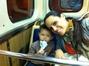 Riding the train in Chicago